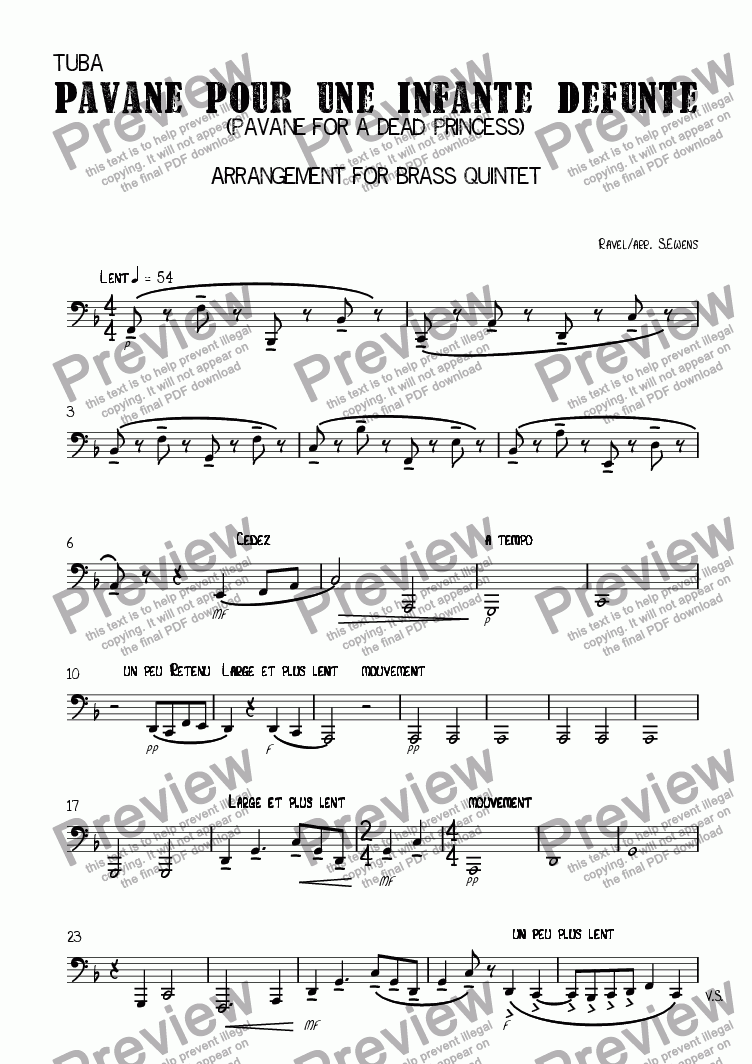 page one of the Tuba part from Pavane pour une infante défunte