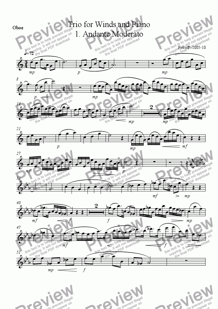 page one of the oboe part from Trio for Wind and Piano
