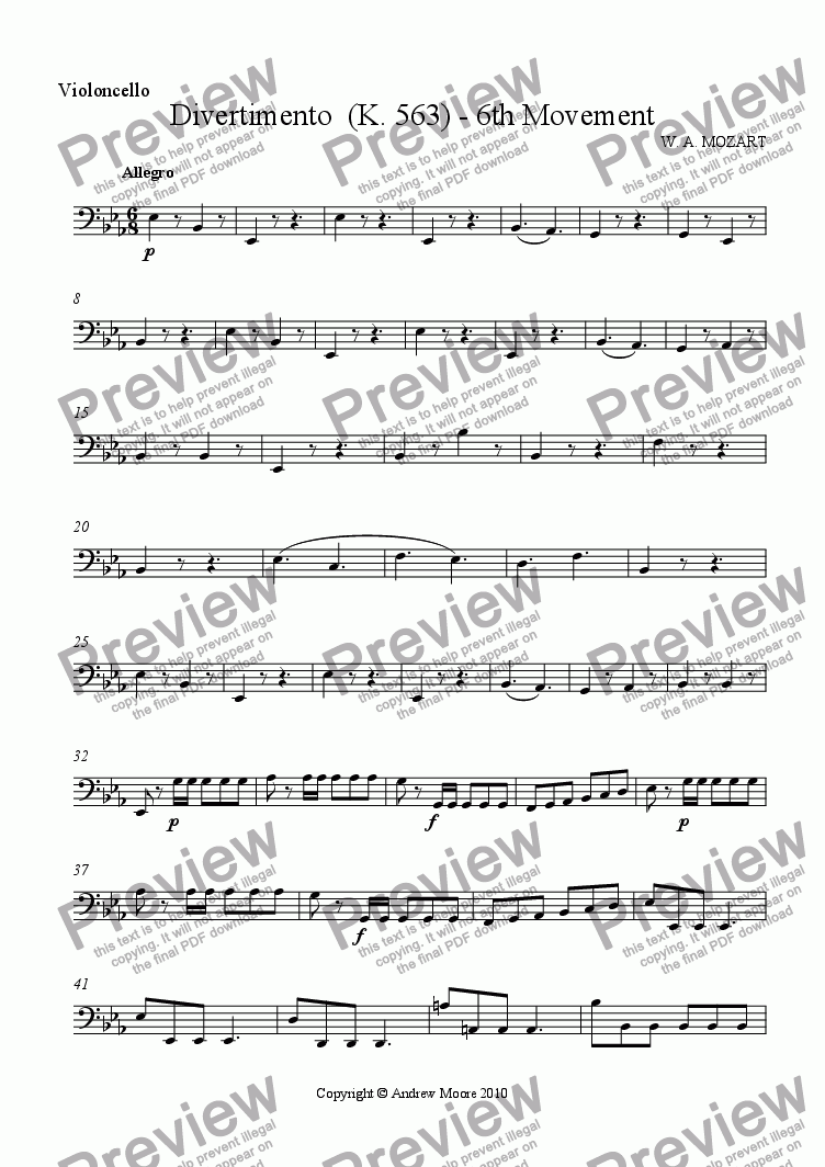 page one of the Cello part from Divertimento for String Trio K.563 - 6th Movement - Allegro