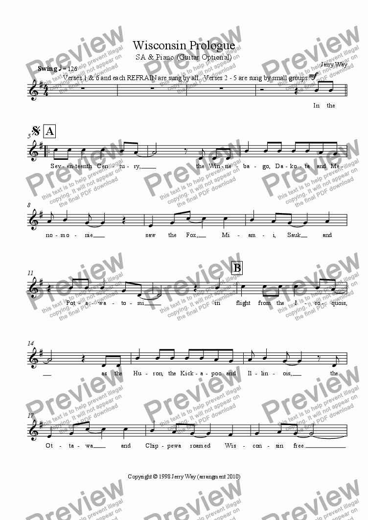 page one of the SA Vocal part from Wisconsin Prologue