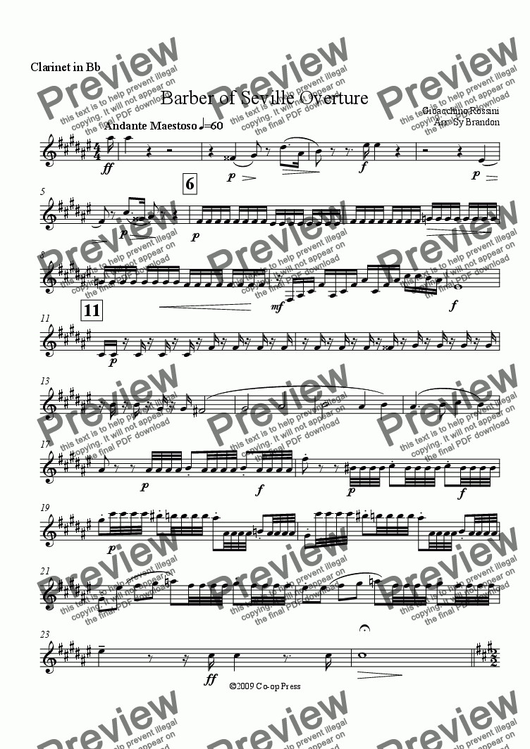 page one of the Clarinet in Bb part from Barber of Seville Overture for Woodwind Trio