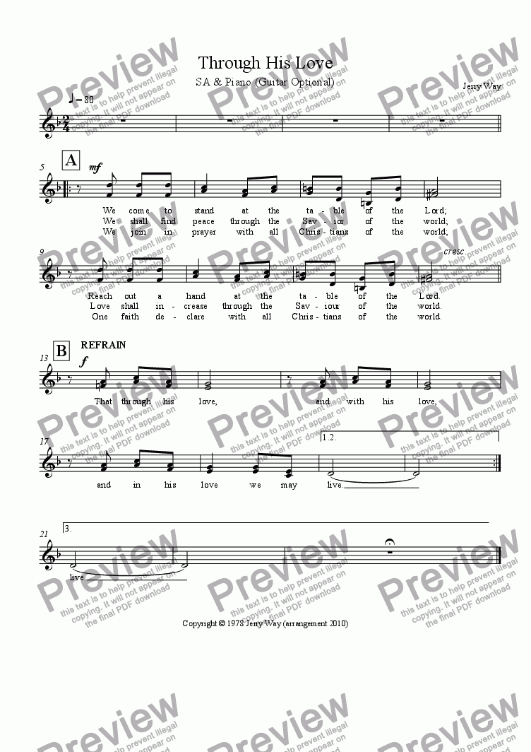 page one of the SA Vocal part from Through His Love