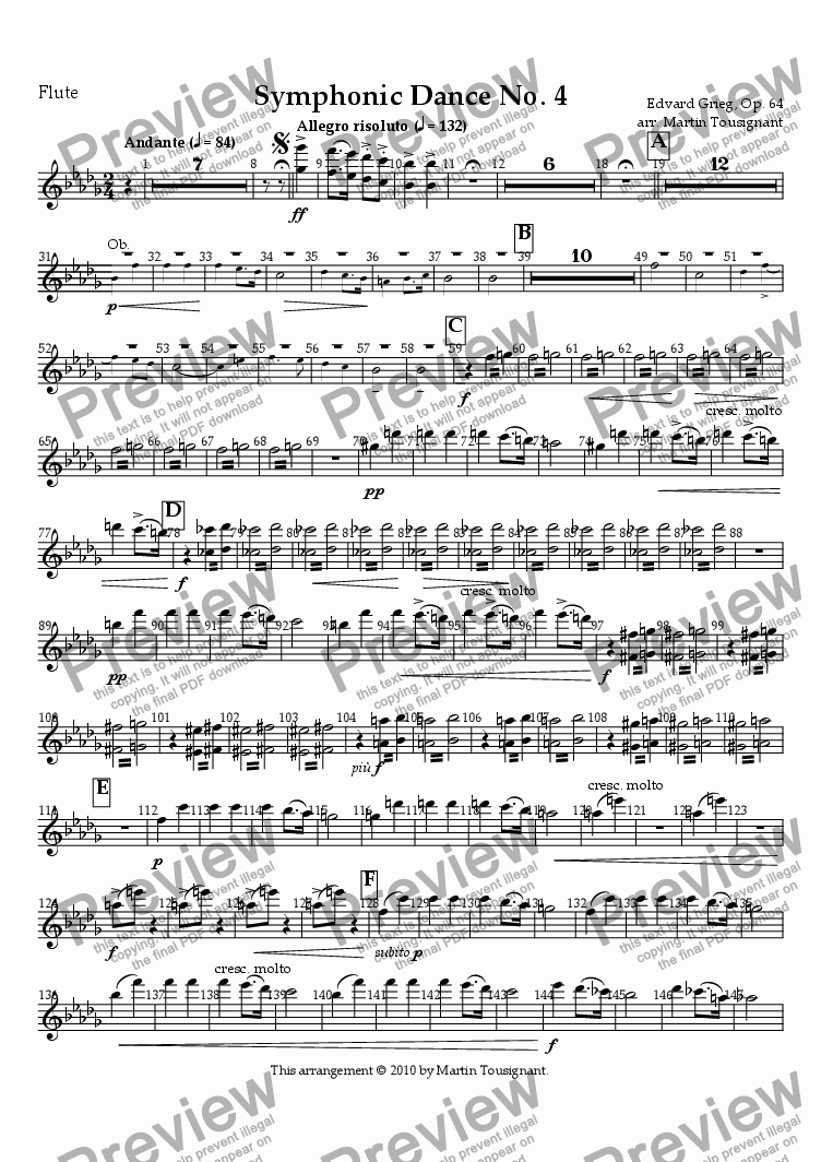 page one of the Flute part from Symphonic Dance No. 4