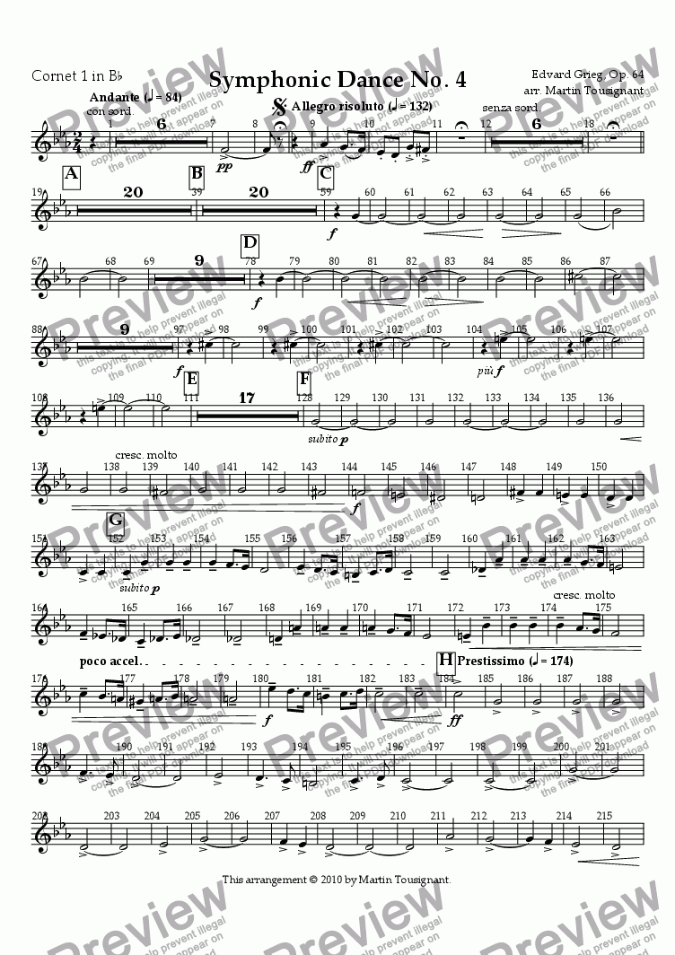 page one of the Cornet 1 part from Symphonic Dance No. 4