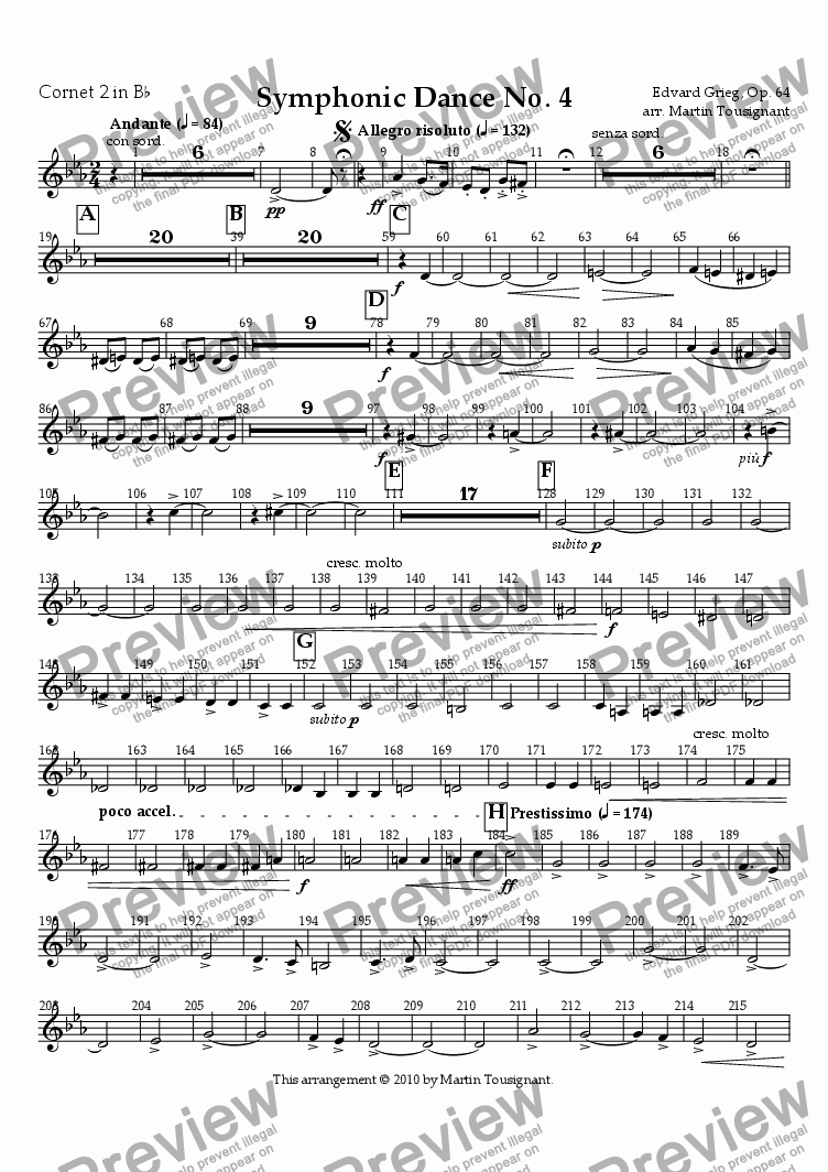 page one of the Cornet 2 part from Symphonic Dance No. 4