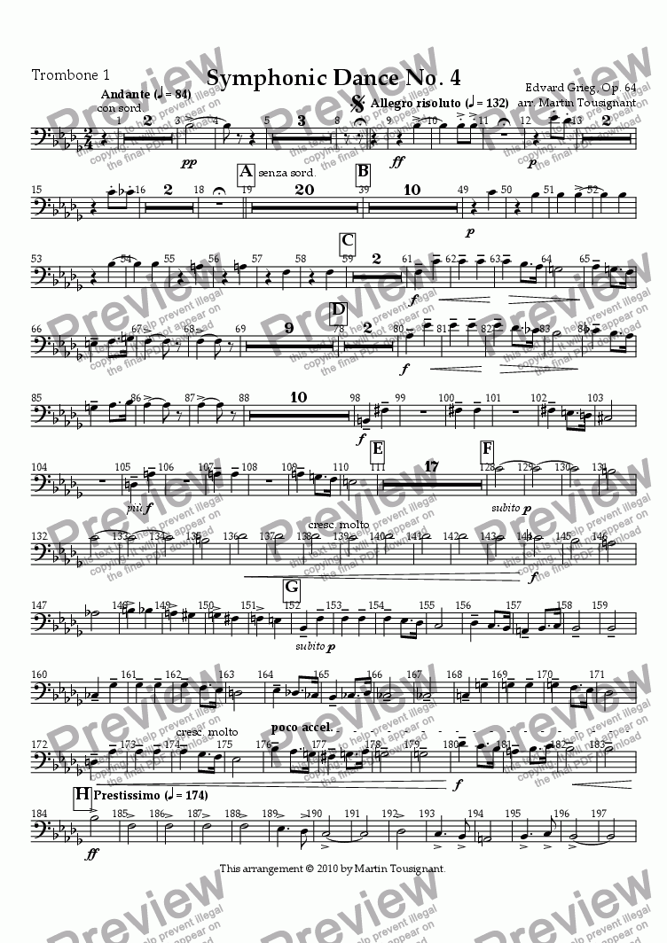 page one of the Trombone 1 part from Symphonic Dance No. 4