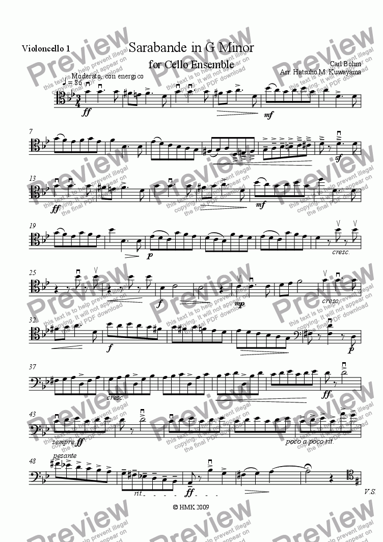 page one of the Violoncello 1 part from Sarabande in G Minor for Cello Ensemble