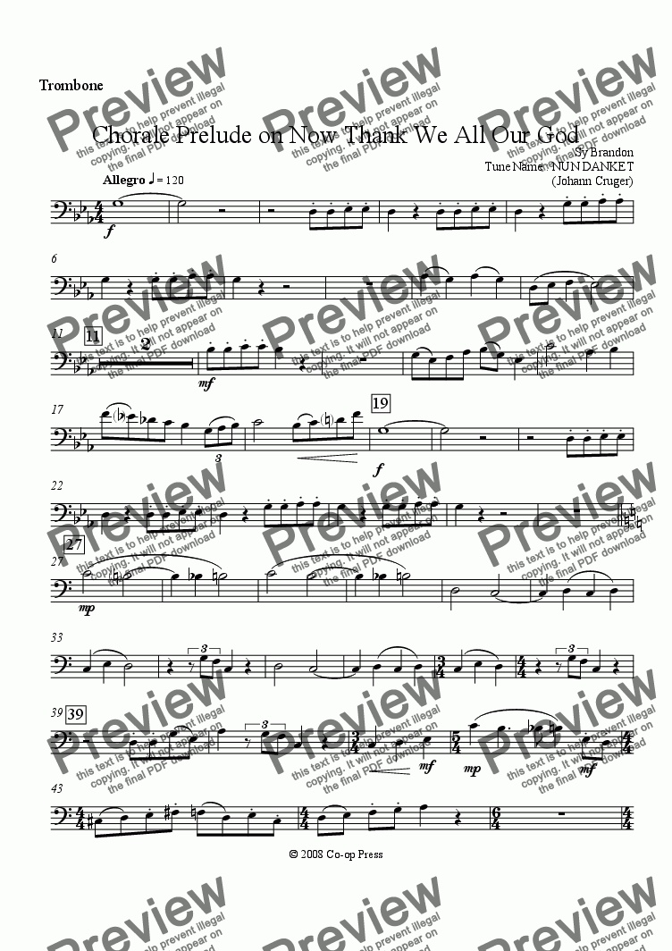 page one of the Trombone part from Chorale Prelude Now Thank We All Our God for Brass Quintet