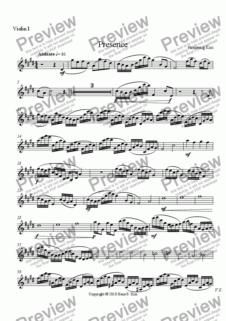 page one of the Violin 1 part from Presence