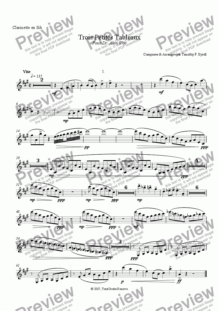 page one of the Clarinet in Bb part from Trois Petites Tableaux