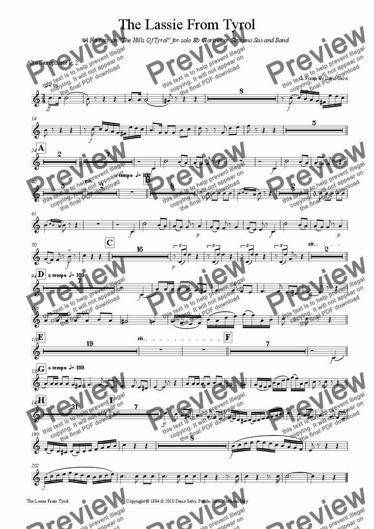 page one of the 1 ,2 alto sax part from The Lassie From Tyrol - A Fantasy on the Hills Of Tyrol for solo Eb Clarinet or Soprano Sax