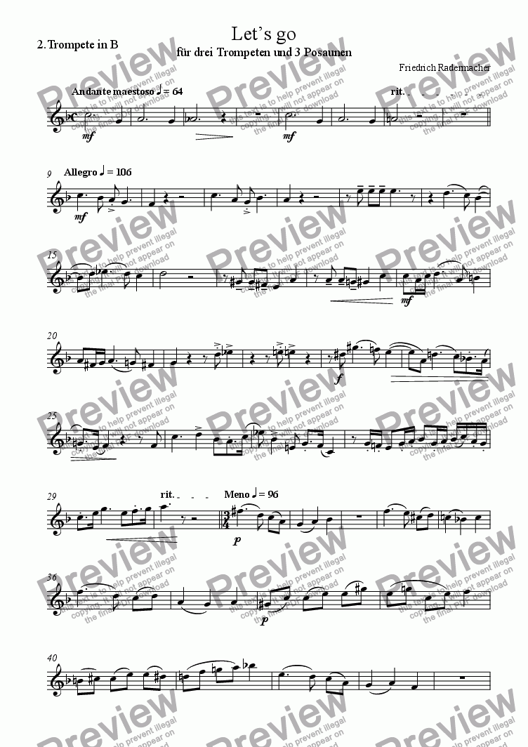 page one of the 2. Trompete in B part from Let's go