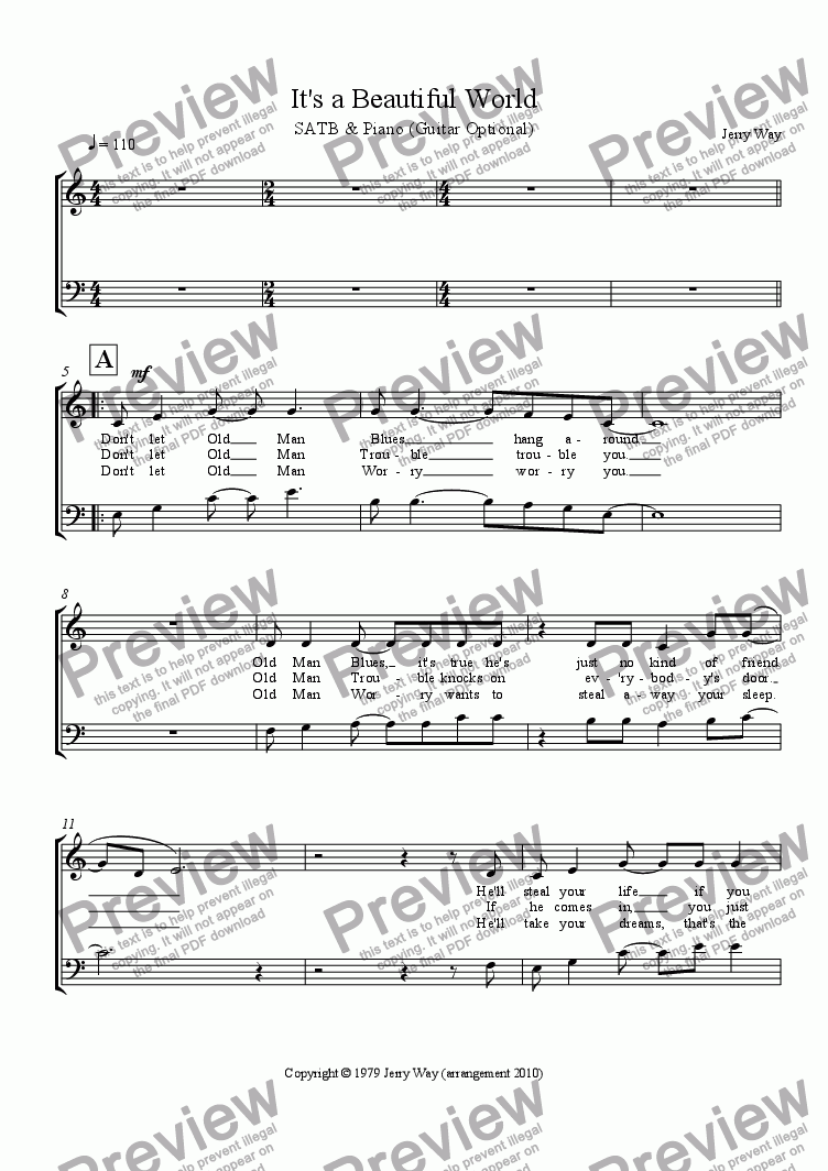 page one of the SATB Vocal part from It's a Beautiful World