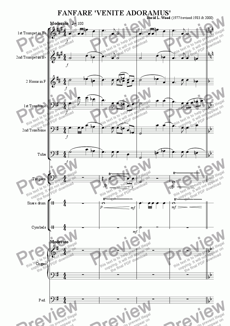 page one of the snare drum part from Fanfare 'Venite Adoramus' full score