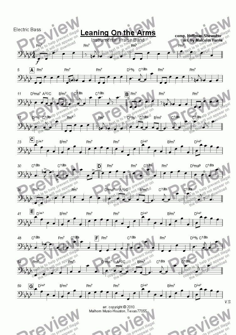 page one of the Electric Bass part from Leaning on the Everlasting Arms