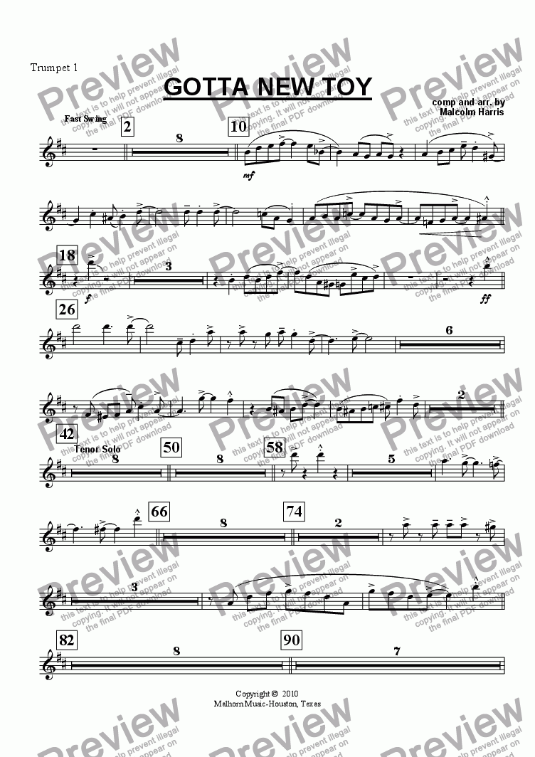 page one of the Trumpet 1 part from Gotta New Toy