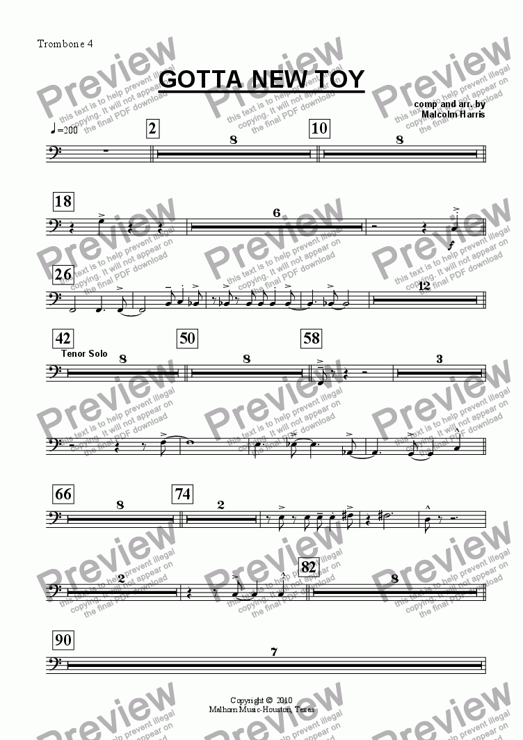 page one of the Trombone 4 part from Gotta New Toy