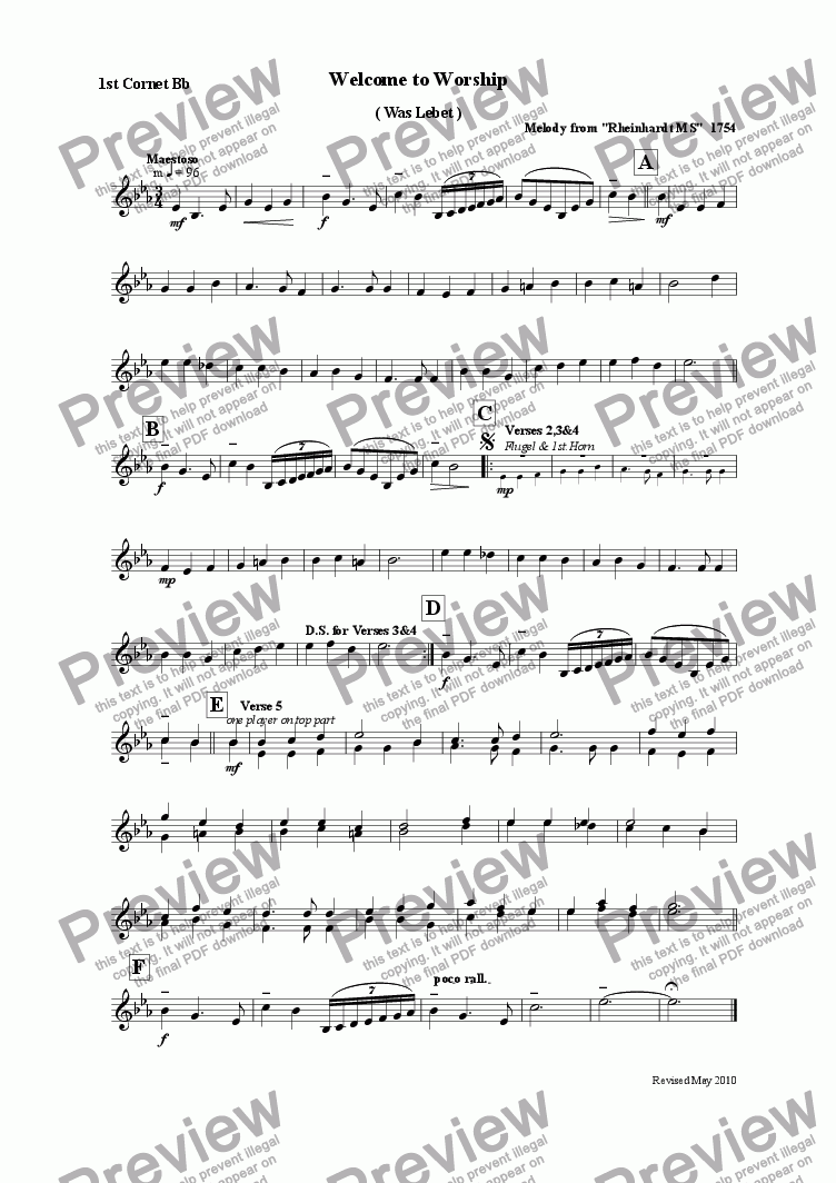 page one of the 1st.Cornet Bb part from Welcome to Worship