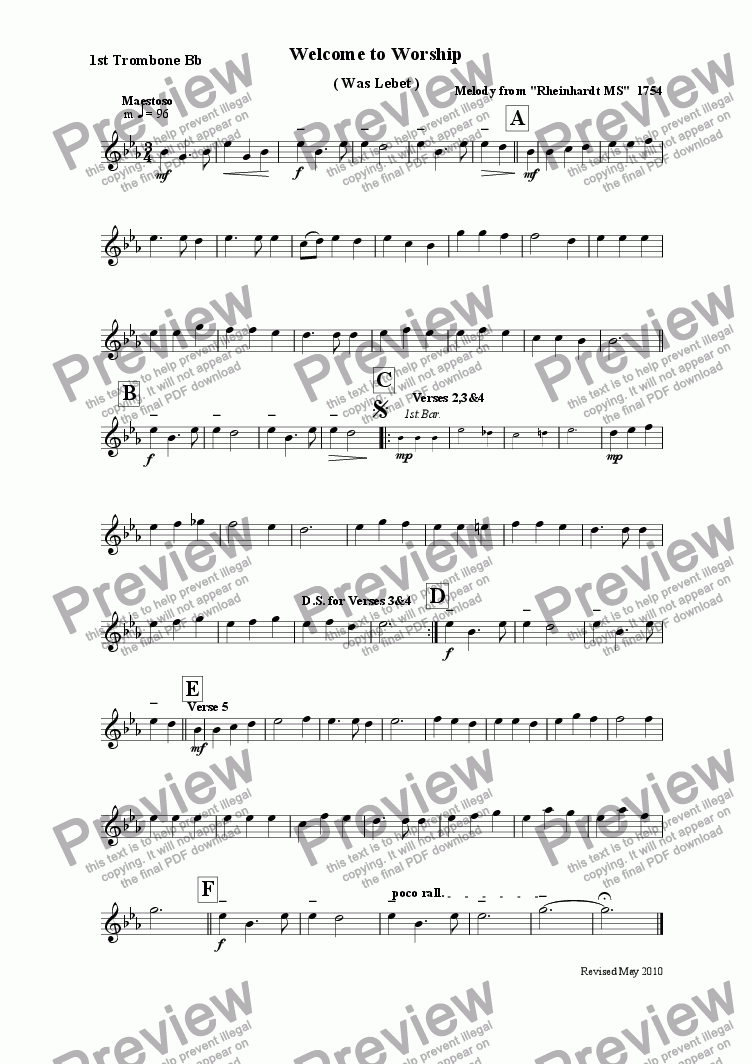 page one of the 1st.Trombone Bb part from Welcome to Worship