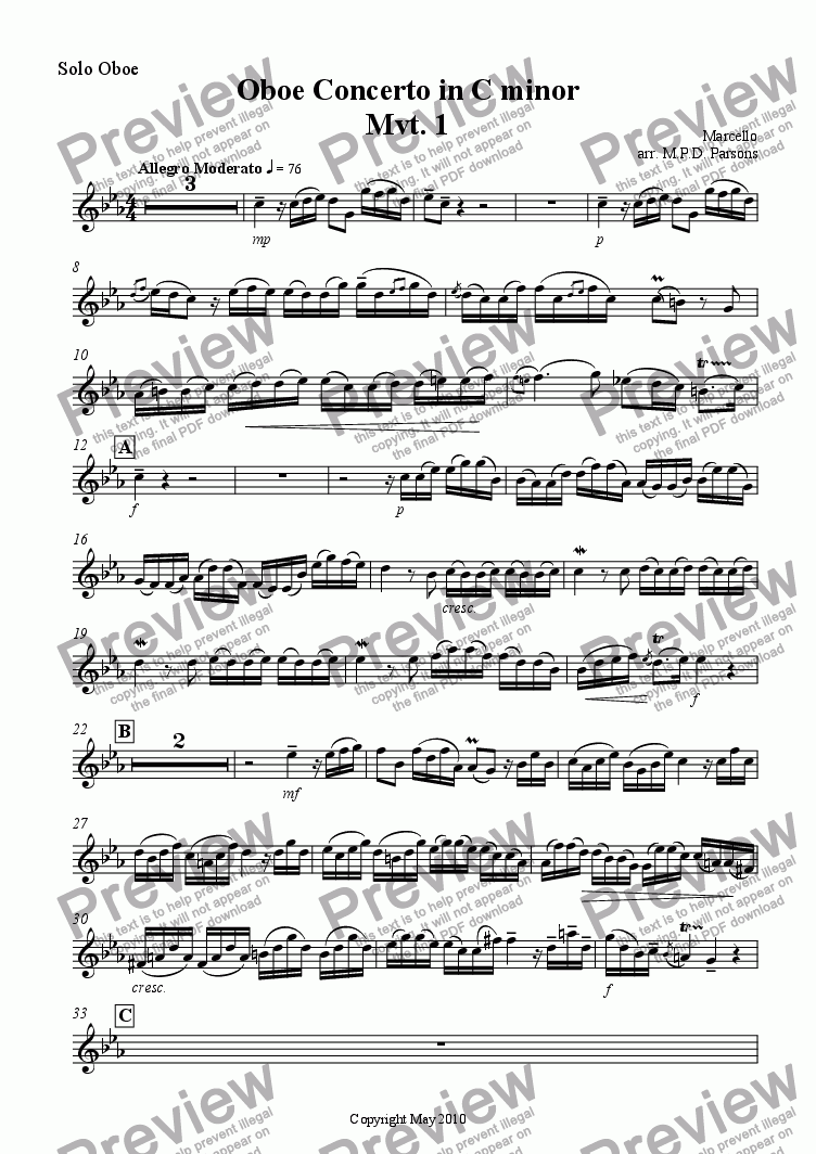 page one of the Solo Oboe part from Oboe Concerto Mvt. 1 Allegro Moderato