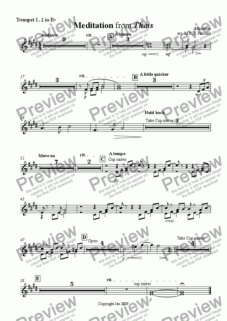 page one of the Trumpet 1, 2 in Bb part from Meditation from Thais