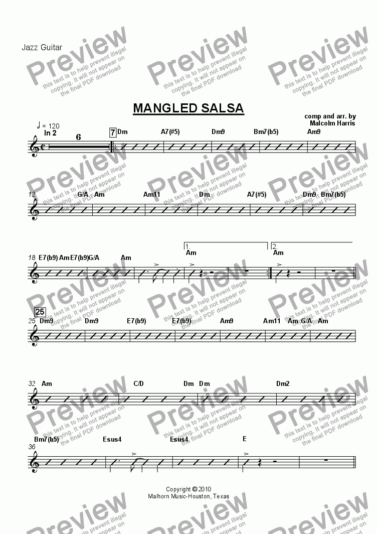 page one of the Guitar part from Mangled Salsa