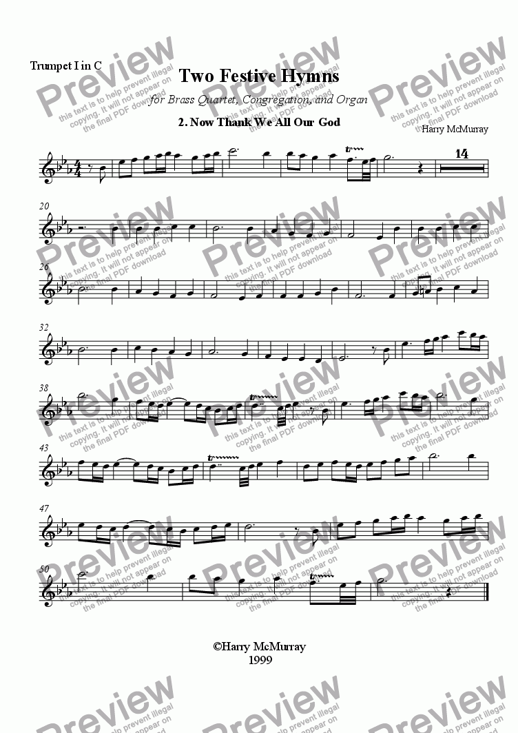 page one of the First Trumpet in C part from Two Festive Hymns: 2 Now Thank We All Our God