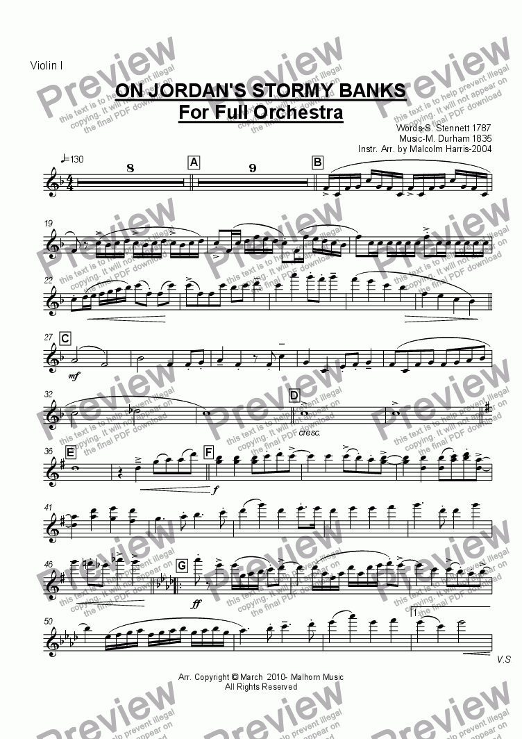 page one of the Violin 1 part from Jordan's Stormy Banks