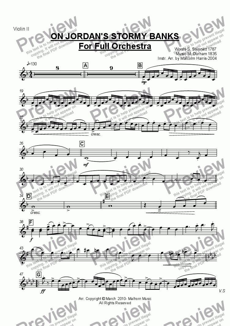 page one of the Violin 2 part from Jordan's Stormy Banks