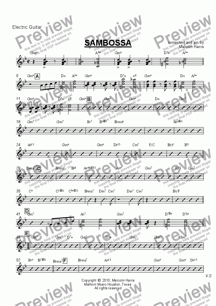 page one of the Electric Guitar part from Sambossa