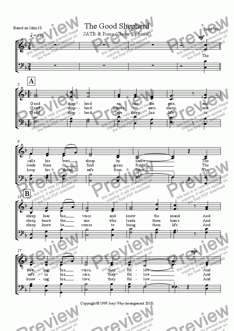 page one of the SATB Vocal part from The Good Shepherd