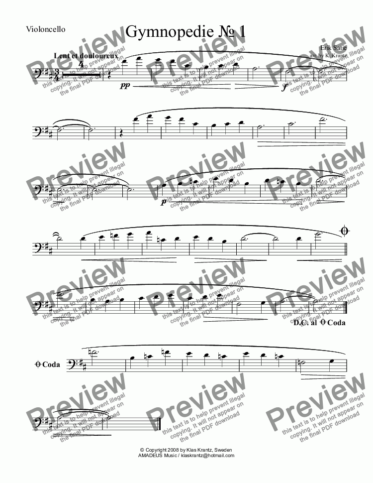 page one of the violoncello part from Gymnopedie 1, 2 & 3 for violoncello and guitar