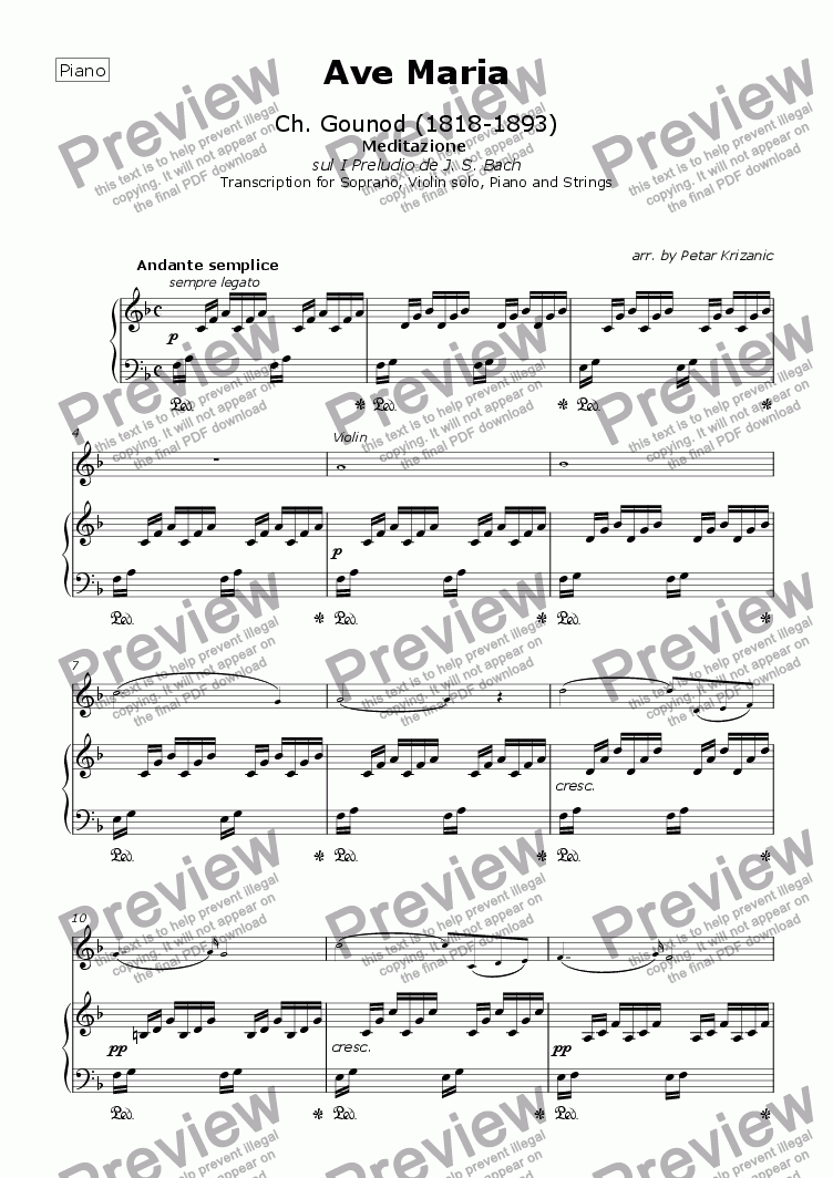page one of the Piano part from Ave Maria (Bach/Gounod) - for Soprano, Violin solo, Piano (Organ) and Strings