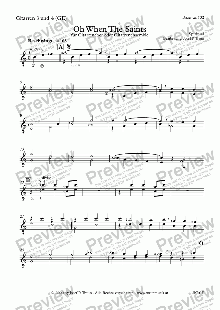page one of the Gitarre 3 & 4 (GE) part from Oh When The Saints (GE/Score & Parts)