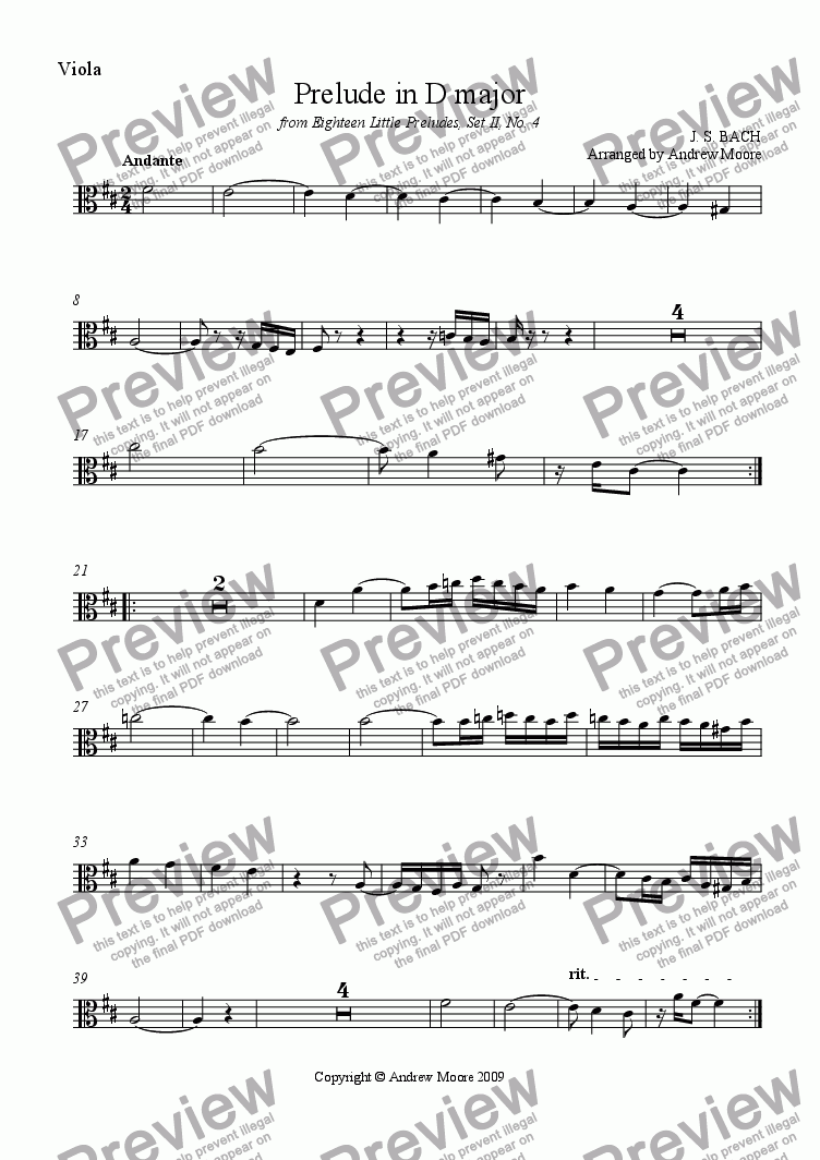 page one of the Viola part from Little Prelude No 4 arranged for String Trio