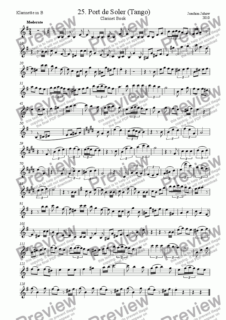 page one of the Cl part from Clarinet Book 25 (Port de Soler - Tango)