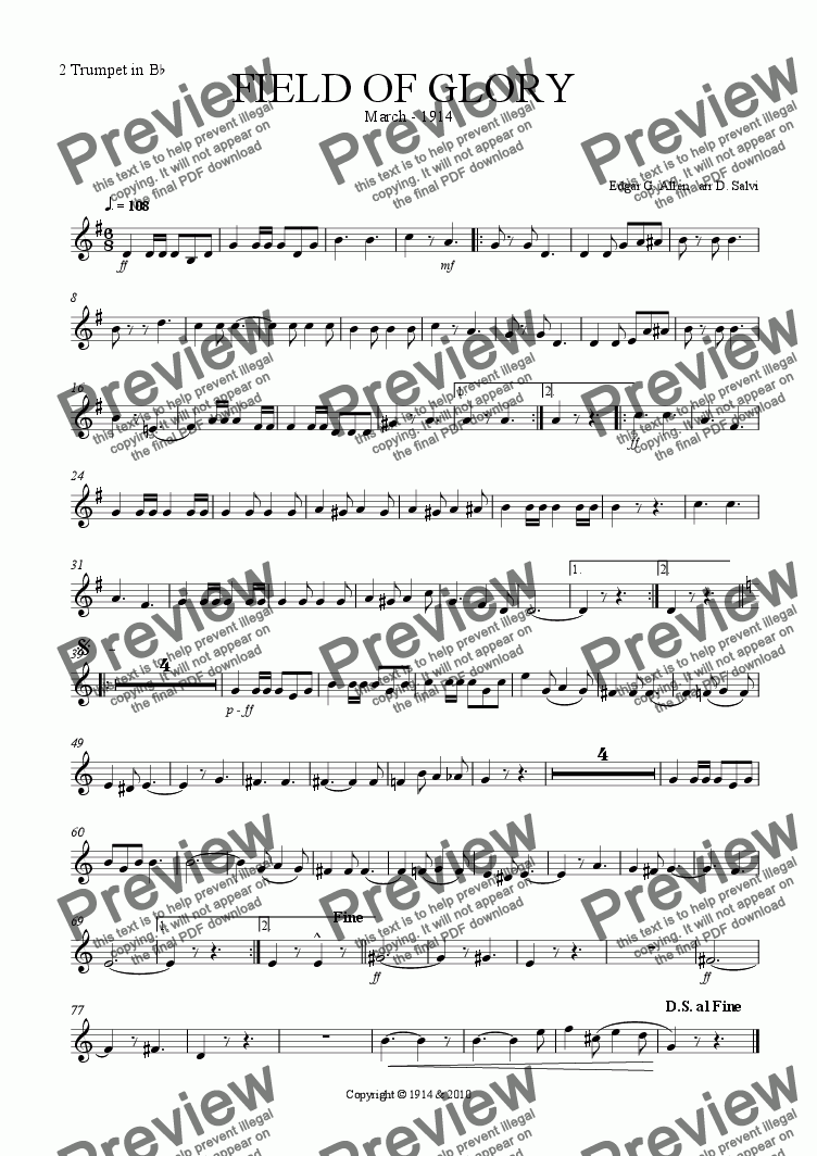 page one of the 2 trumpet part from Quick March Field Of Glory