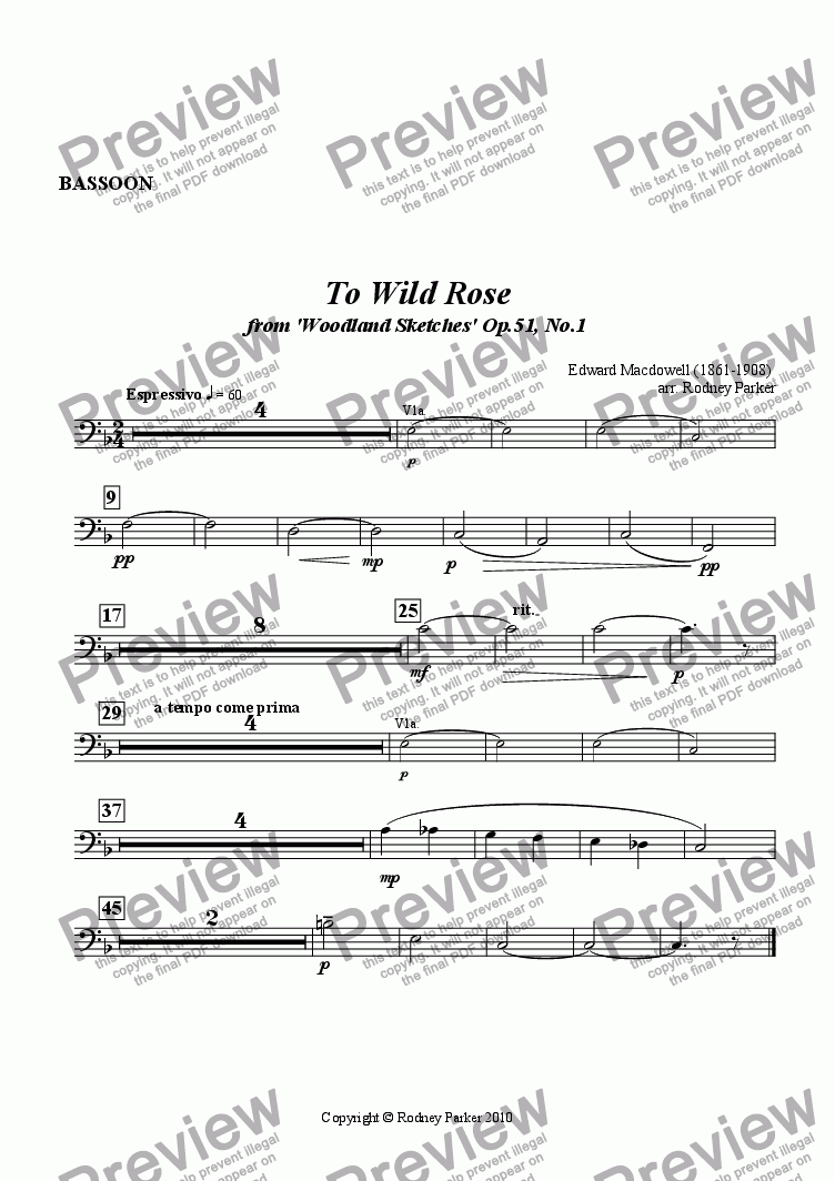 page one of the Bassoon part from To Wild Rose arr. for Amateur Orchestra
