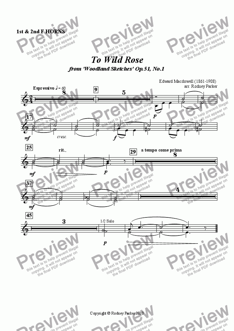 page one of the 1&2 Horns in F part from To Wild Rose arr. for Amateur Orchestra