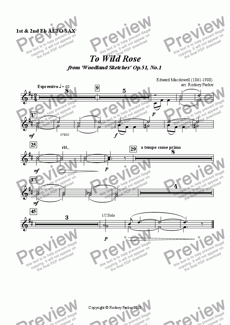 page one of the 1&2 Alto Sax (Hns) part from To Wild Rose arr. for Amateur Orchestra