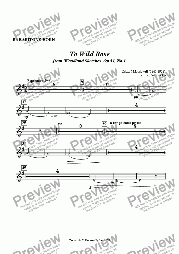 page one of the Bb Baritone Horn (2 Trb) part from To Wild Rose arr. for Amateur Orchestra
