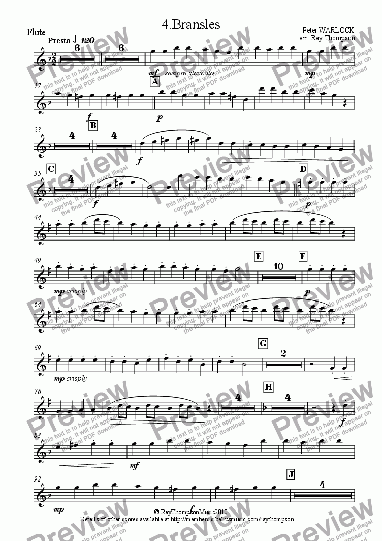 page one of the flute part from Capriol Suite: 4.Bransles (Wind Quintet)