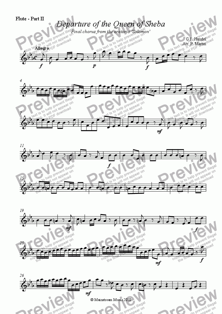page one of the Flute - Part II part from Departure of the Queen of Sheba - Wind Quartet