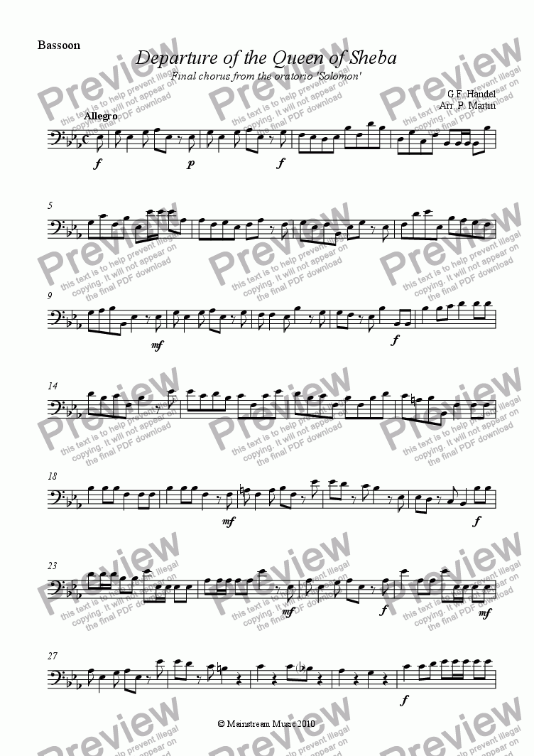page one of the Bassoon part from Departure of the Queen of Sheba - Wind Quartet