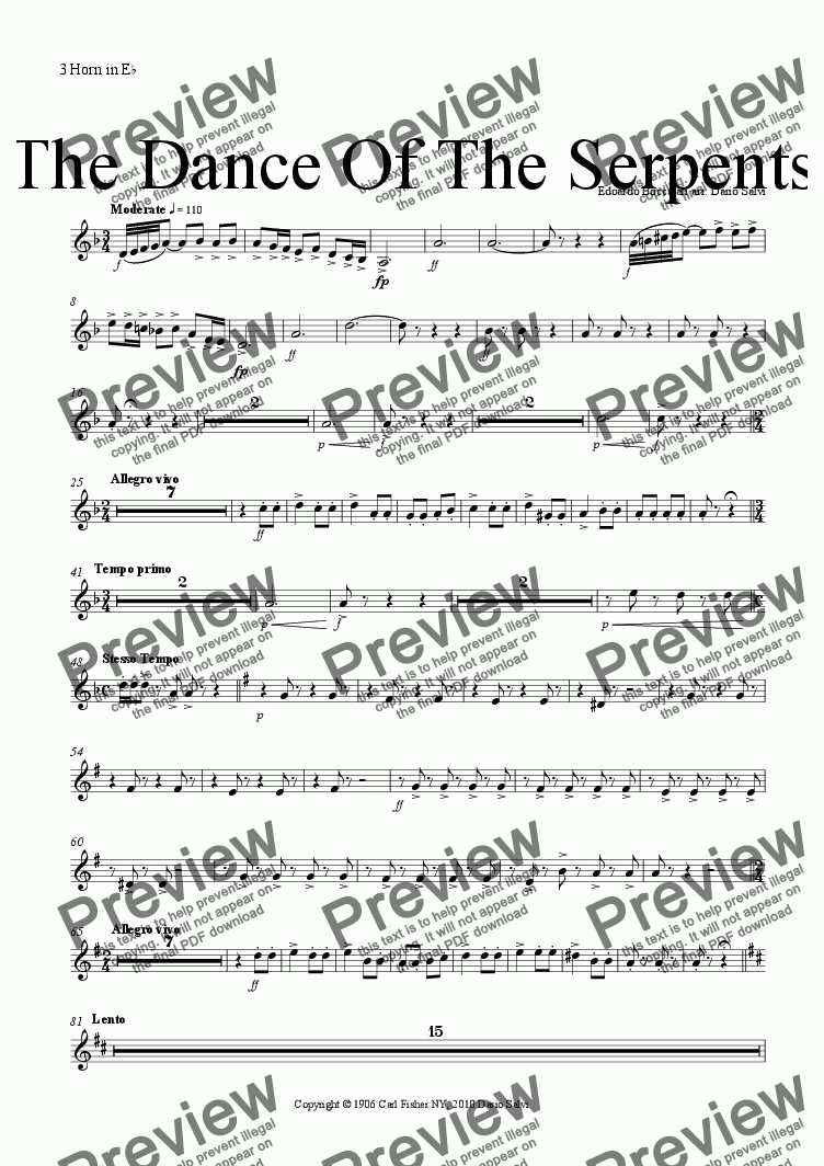 page one of the horn 3 part from The  Dance Of The Serpents