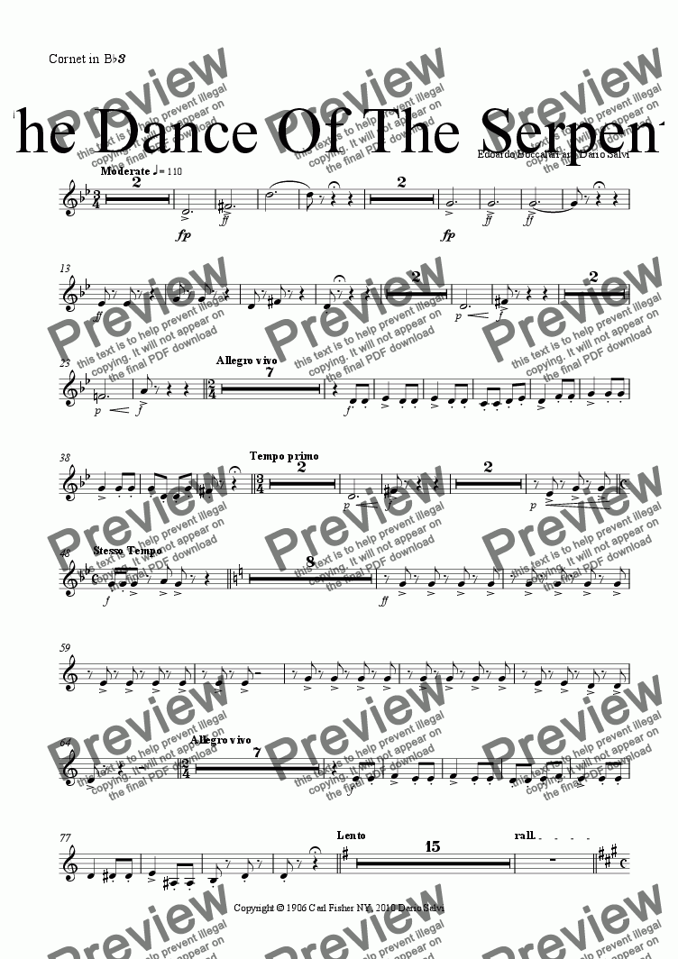 page one of the cornet 3 part from The  Dance Of The Serpents