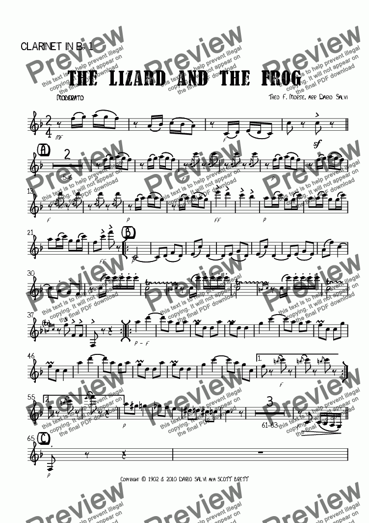 page one of the 1 clarinet part from The Lizard and The Frog