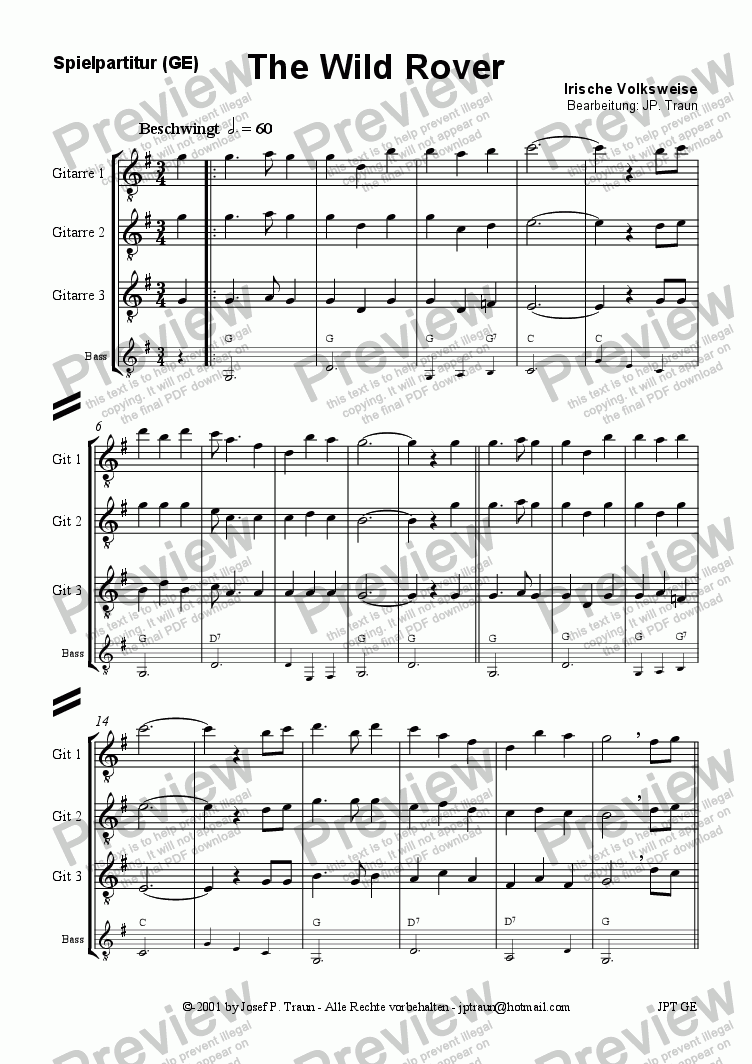 page one of the Guitar 1-3 (GE) part from The Wild Rover (GE/Score & Parts)