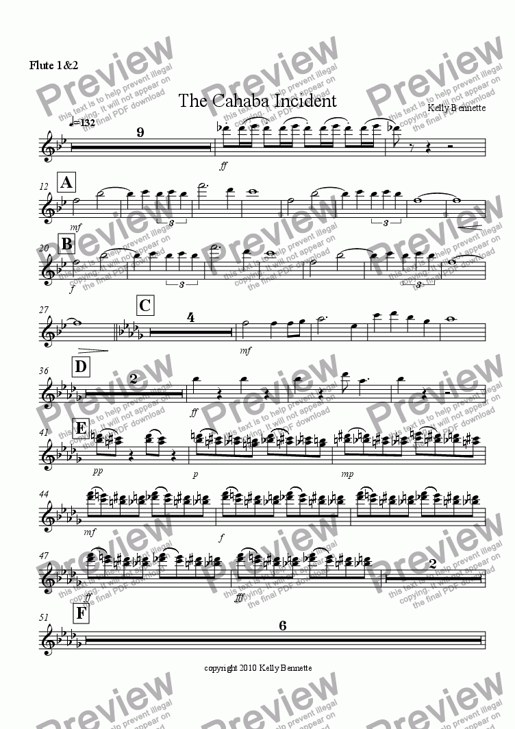 page one of the flute 1&2 part from The Cahaba Incident