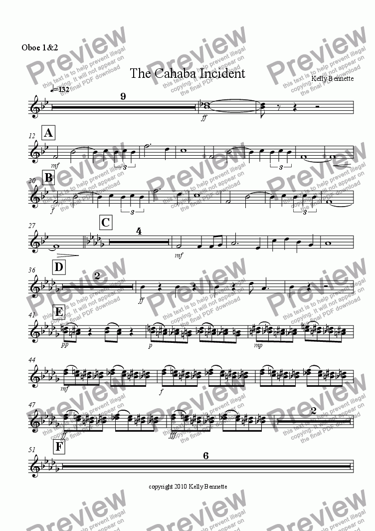 page one of the oboe 1&2 part from The Cahaba Incident